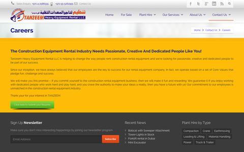 Screenshot of Jobs Page tanzeem.ae - Careers - captured Oct. 27, 2014