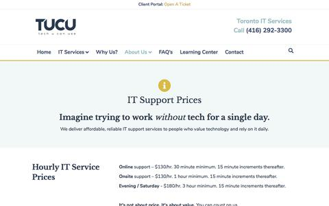 Screenshot of Pricing Page tucu.ca - Our Pricing – TUCU – IT Support Company in Toronto ON - captured Dec. 18, 2019