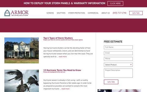 Screenshot of Blog armorbuildingsolutions.com - Hurricane tips and shutter inspiration | Armor Building Solutions - captured Oct. 4, 2018