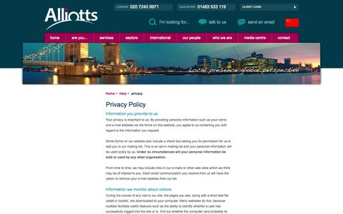 Screenshot of Privacy Page alliotts.com - Privacy Policy (Accountants in London and Guildford) - Alliotts - captured Sept. 30, 2014