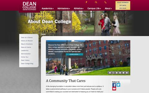 Screenshot of About Page dean.edu - About Dean College - Dean College - captured Oct. 5, 2014