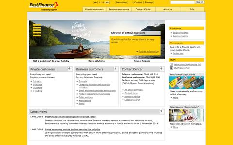 Screenshot of Home Page postfinance.ch - PostFinance - Home - captured Sept. 18, 2014