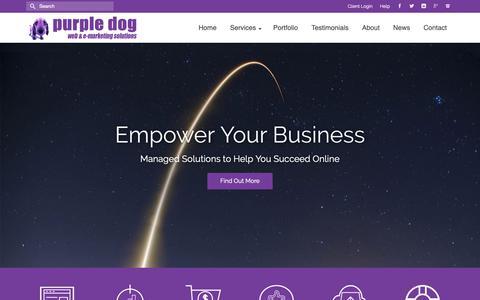 Screenshot of Home Page purpledogdesign.com - Managed Online Services, Websites and eMarketing ~ Purple Dog Design - captured Sept. 30, 2018