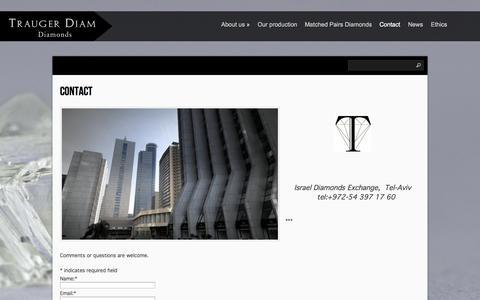 Screenshot of Contact Page traugerdiam.com - Contact   TRAUGER DIAM - captured Oct. 7, 2014