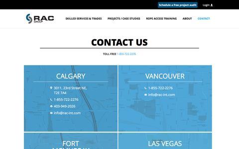 Screenshot of Contact Page rac-int.com - CONTACT | RAC International - captured Nov. 28, 2016