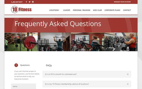 Screenshot of FAQ Page 10fitness.com - Frequently Asked Questions - 10 Fitness - captured Nov. 6, 2017