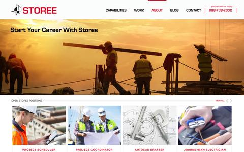Screenshot of Jobs Page storee.com - Apply for a Job   Storee Construction Co - captured Feb. 16, 2016