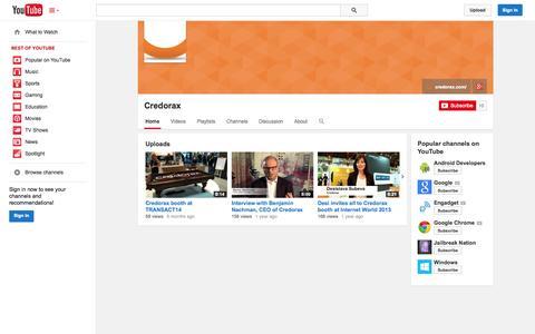 Screenshot of YouTube Page youtube.com - Credorax  - YouTube - captured Oct. 22, 2014