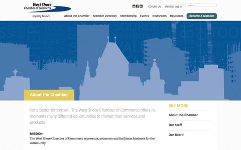 Screenshot of About Page wschamber.org - About the Chamber - West Shore Chamber of Commerce - captured Nov. 29, 2016