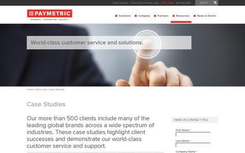 Screenshot of Case Studies Page paymetric.com - Case Studies | Paymetric - captured July 19, 2014
