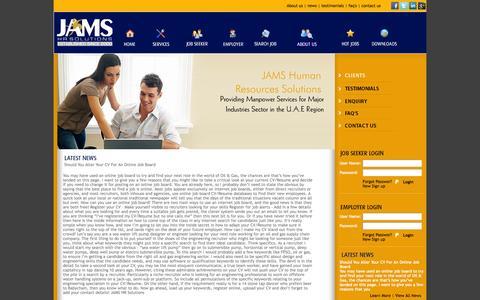 Screenshot of Press Page jamsfze.com - JAMS HR Solutions - captured Oct. 8, 2014