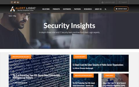 Screenshot of Blog alertlogic.com - Cloud Security News and Information - captured Oct. 8, 2017
