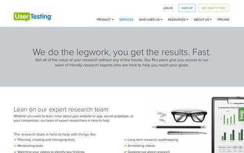 Screenshot of Services Page usertesting.com - Usability Testing Services from UserTesting - captured July 1, 2016