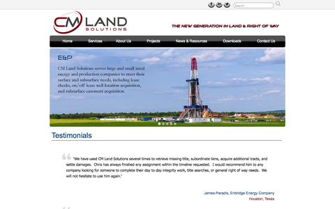 Screenshot of Testimonials Page cmlandsolutions.com - Testimonials » CM Land Solutions - captured Sept. 26, 2014
