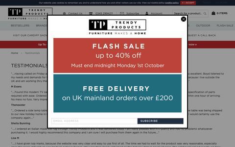 Screenshot of Testimonials Page trendy-products.co.uk - Testimonials | Trendy Products - captured Oct. 1, 2018
