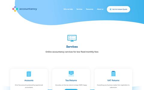 Screenshot of Services Page theaccountancy.co.uk - Services | - - captured June 24, 2019
