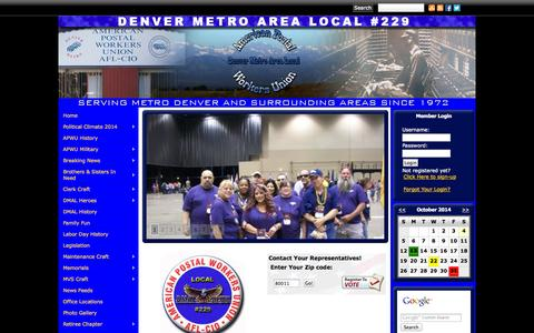 Screenshot of Home Page denverapwu.com - Denver Metro Area Local APWU - captured Oct. 4, 2014