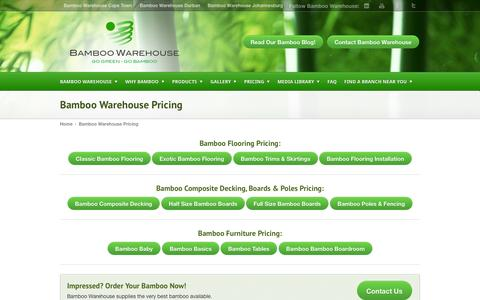 Screenshot of Pricing Page bamboowarehouse.co.za - Bamboo Warehouse Pricing   Bamboo Warehouse - captured Sept. 30, 2014