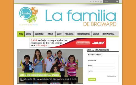 Screenshot of Home Page lafamiliadebroward.com - La Familia de Broward | Una herramienta útil para las necesidades de las familias hispanas - captured Sept. 27, 2014