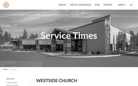 Screenshot of Services Page westsidechurch.org - Westside Church in Bend, Oregon   Life. Love. Jesus. - captured Jan. 27, 2019