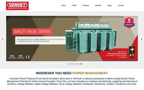 Screenshot of Home Page vener7.com - Servo Voltage Stabilizer, Voltage Stabilizer Manufacturer, India - captured Jan. 19, 2016