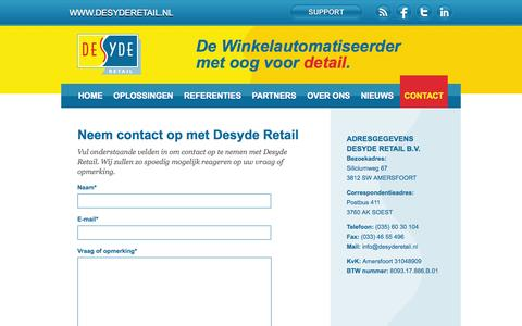 Screenshot of Contact Page desyderetail.nl - Contact | Desyde Retail - captured Oct. 5, 2014