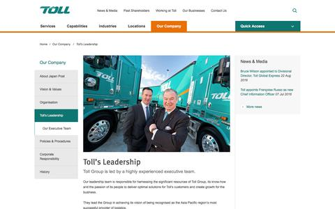 Screenshot of Team Page tollgroup.com - Toll Leadership | Toll Group - Providing Global Logistics - captured Nov. 23, 2016