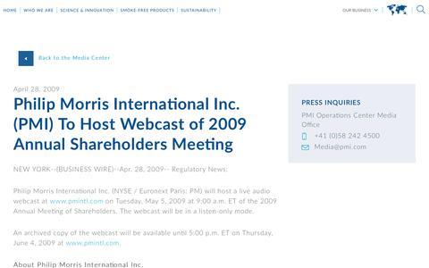 Screenshot of Press Page pmi.com - Philip Morris International Inc. (PMI) To Host Webcast of 2009 Annual Shareholders Meeting - captured Nov. 1, 2018