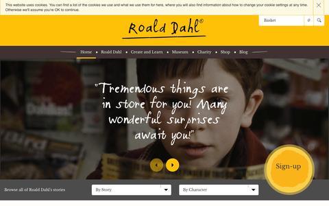 Screenshot of Home Page roalddahl.com - The Official Roald Dahl Website - captured Sept. 19, 2014