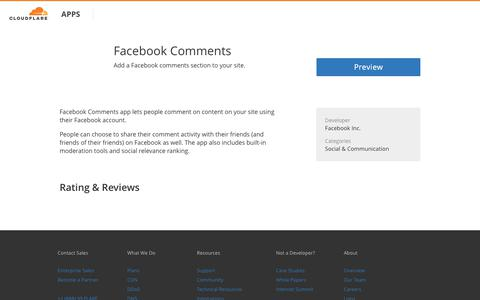 Facebook Comments - Cloudflare Apps
