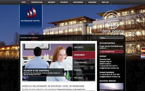 Screenshot of Home Page riverside-nordhorn.de - Riverside Hotel Nordhorn | denk positiv. - captured Sept. 22, 2014