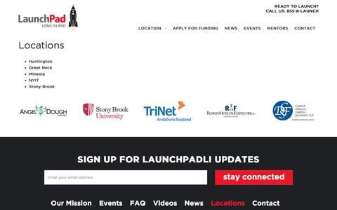 Screenshot of Locations Page launchpadli.com - Locations - LaunchPad - captured Aug. 3, 2016