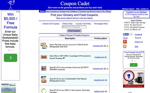 Screenshot of Home Page couponcadet.com - One Source for Grocery and Food Coupons - Save Money - Coupon Cadet - captured Oct. 1, 2015