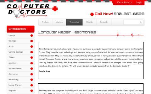 Screenshot of Testimonials Page coloradocomputerdoctors.com - Computer Repair Testimonials - captured Dec. 10, 2015