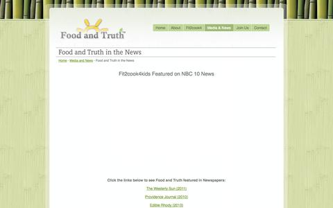 Screenshot of Press Page foodandtruth.org - Food and Truth - Creators of Fit2cook4kids - captured Oct. 6, 2014