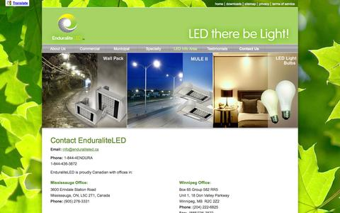 Screenshot of Contact Page enduraliteled.ca - Contact Us | Enduralite :: High Efficiency Lighting - captured Sept. 30, 2014