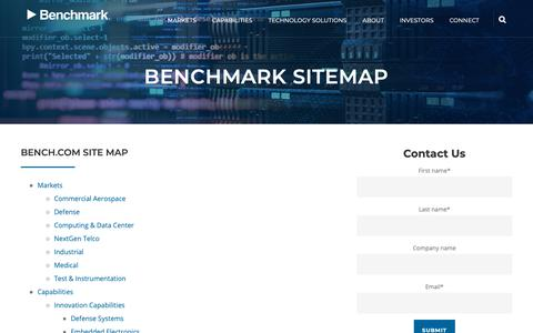 Screenshot of Site Map Page bench.com - Bench Site Map - captured Jan. 26, 2019