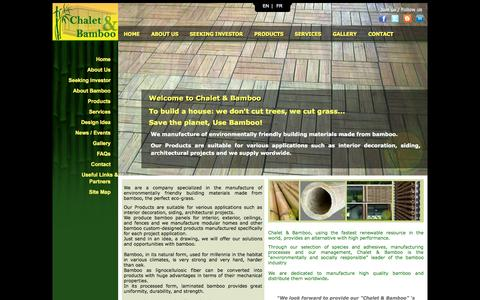 Screenshot of Home Page chalet-bamboo.com - Chalet & Bamboo: Your reliable supplier of eco-friendly building materials in Bamboo and Prefabricated house. - captured Oct. 2, 2014