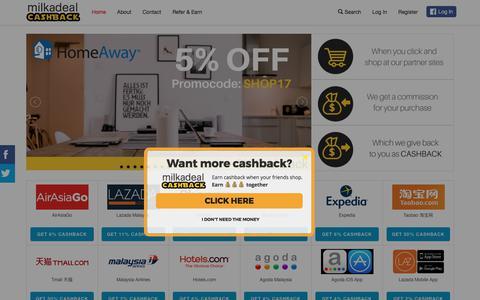 Screenshot of Home Page milkadeal.com captured June 26, 2017