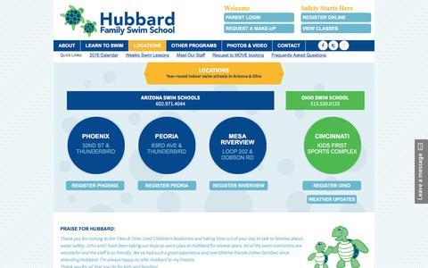 Screenshot of Locations Page hubbardswim.com - Hubbard Swim Locations – Phoenix, Peoria, and Mesa - captured Nov. 14, 2016