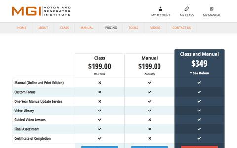 Screenshot of Pricing Page mgisys.com - Pricing - captured Sept. 30, 2017