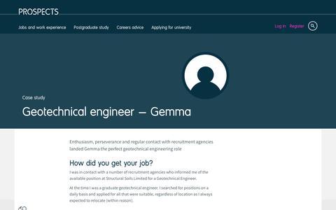 Screenshot of Case Studies Page prospects.ac.uk - Geotechnical engineer: Gemma | Prospects.ac.uk - captured Dec. 5, 2016