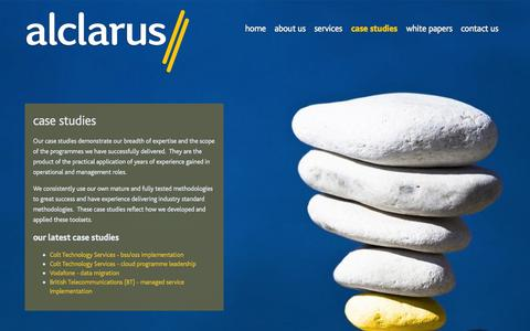 Screenshot of Case Studies Page alclarus.com - case studies - captured Sept. 30, 2014