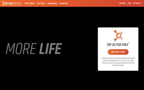 Screenshot of Home Page orangetheoryfitness.com captured Oct. 7, 2018