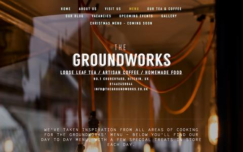 Screenshot of Menu Page thegroundworks.co.uk - Menu — THE GROUNDWORKS - captured Sept. 30, 2014