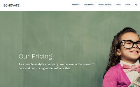 Screenshot of Pricing Page echovate.com - Pricing - Echovate - captured July 16, 2018