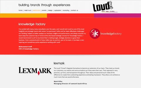 Screenshot of Testimonials Page loud.za.com - Loud Group   Testimonials - captured Oct. 3, 2014