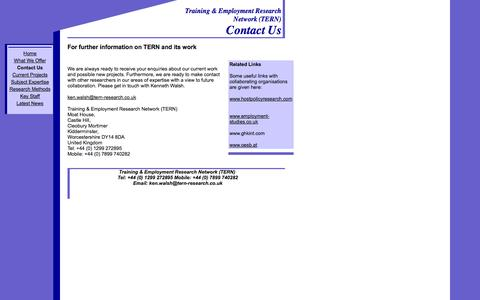 Screenshot of Contact Page tern-research.co.uk - Contact Us - captured Oct. 7, 2014