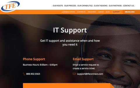 Screenshot of Support Page tfeconnect.com - IT Support - captured Nov. 16, 2017