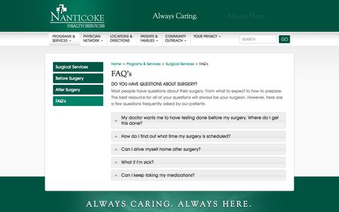 Screenshot of FAQ Page nanticoke.org - Surgical Services FAQs, Nanticoke Health Services, Seaford, Delaware - captured Oct. 26, 2017